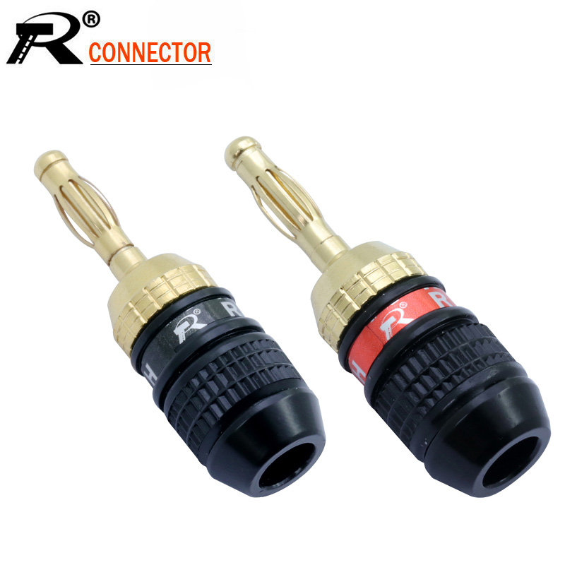 10pcs Banana Plugs High Quality Gold Plated Screw-type Solder-free Banana Wire Connector Amplifer Speaker Plug Cable Connector