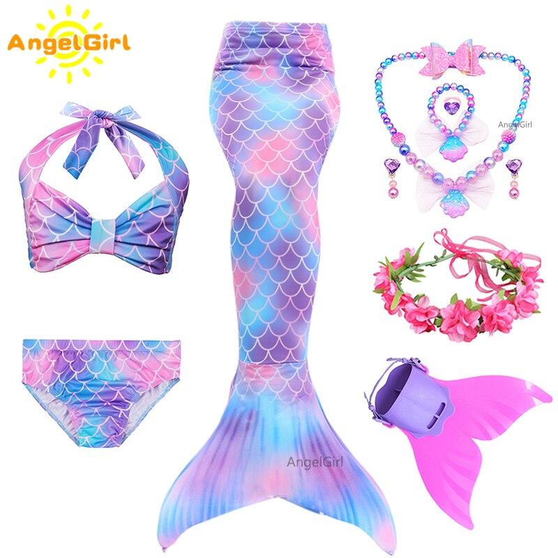 AngelGirl 2020 Kinder Meerjungfrau Schwänze Bikini Bade Kinder Anzug Badeanzug Mit Monofin für Mädchen Prinzessin Kostüm Swimmable Anzug