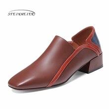 여성 플랫 정품 가죽 신발 스 니 커 즈 여성 brogues 빈티지 플랫 캐주얼 신발 끈 옥스포드 신발 여성 2020 봄