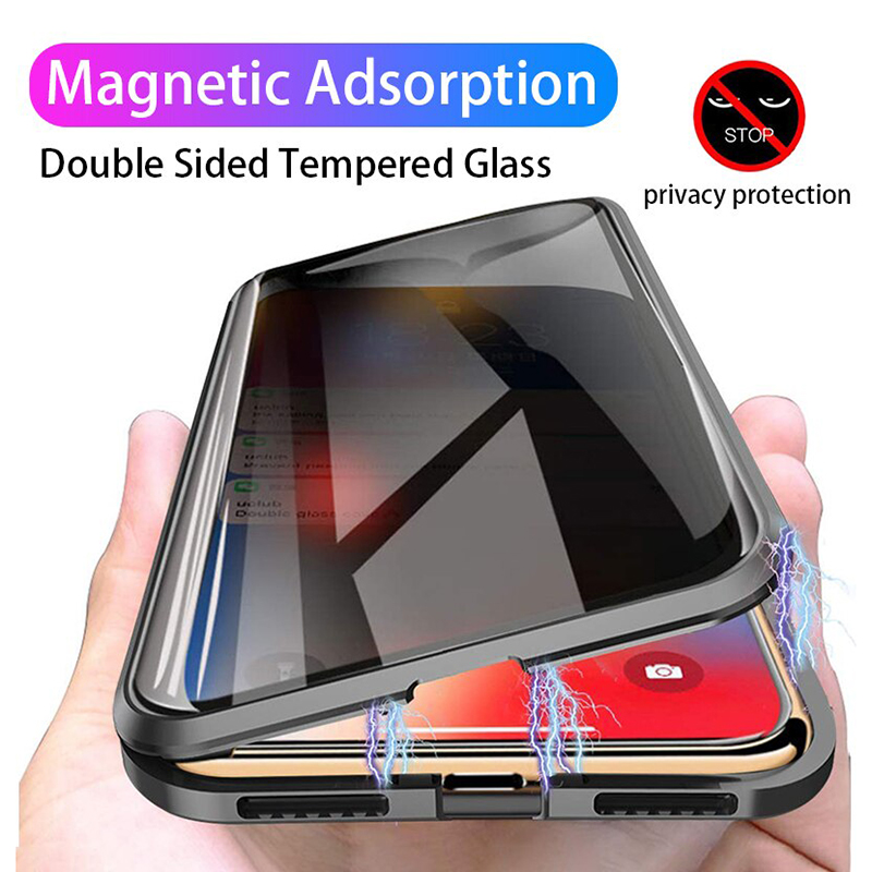 <font><b>360</b></font> Full Protection Anti Privacy Magnetic <font><b>Case</b></font> For <font><b>Samsung</b></font> Galaxy S20 Ultra S10 S9 S8 Plus <font><b>Note</b></font> 10 <font><b>8</b></font> 9 Bumper Double Glass <font><b>cases</b></font> image
