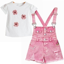 Chumhey 0-10T Summer Children's Clothing Sets Jeans For Girls Pants Kids Denim Overalls Suspender Shorts Pink Jumpsuit Trousers