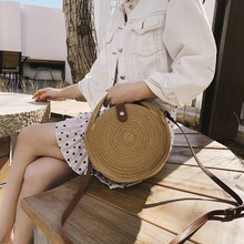 Bags For Women 2020 Fashion Woven Shoulder Bag Beach Solid Color Straw Messenger Bag Ladies Casual Summer Handbag casual straw and solid color design shoulder bag for women