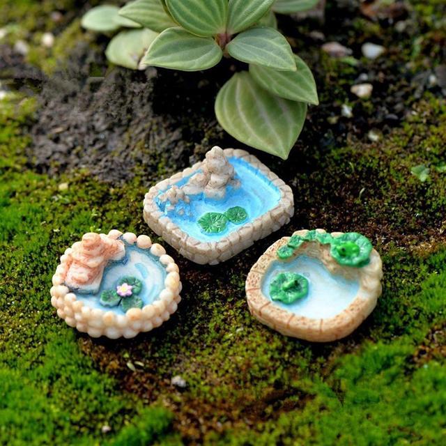 1Pcs piscina paisaje en miniatura ornamento Jardín de Bonsai, casa de muñecas decoración artesanía resina decoración de jardín al aire libre decoración miniaturas