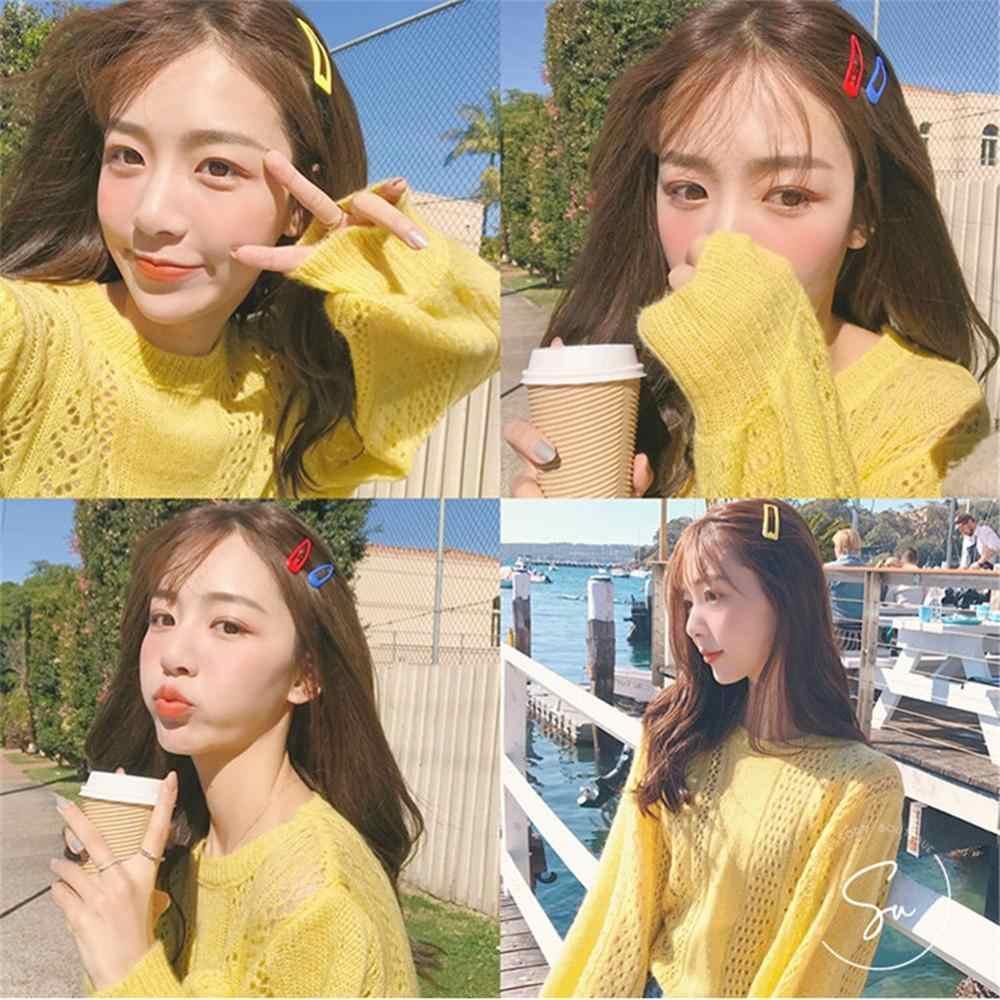 새로운 한국어 귀여운 반짝이 솔리드 스냅 헤어 클립 여성 헤어핀 BB 버렛 캔디 컬러 헤어 그립 헤어 액세서리 선물