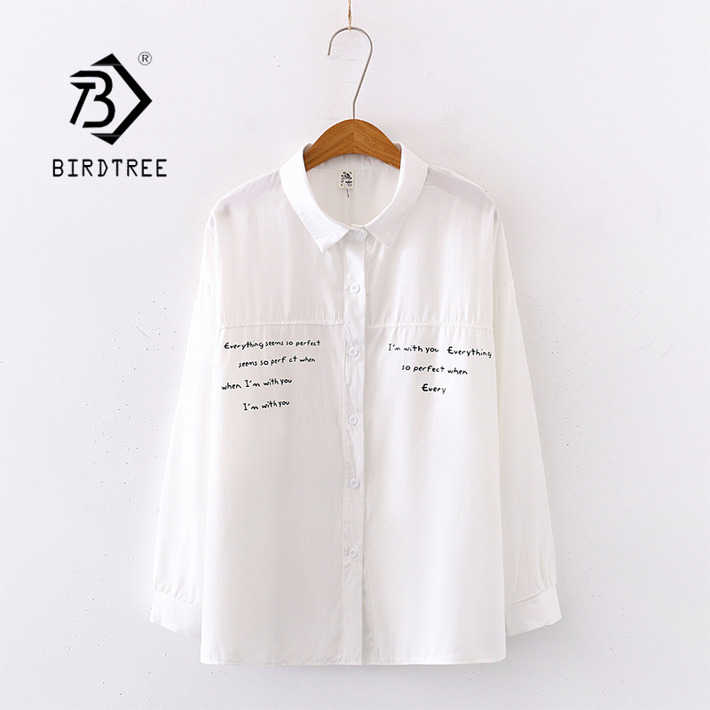 2020 Spring New Women Batwing Sleeve White Shirt Turn-down Collar Letter Print Blouse Autumn Casual Tops Feminina Blusa T9D738T