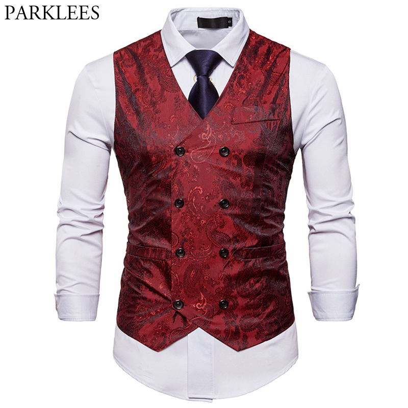 Men's Red Paisley Double Breasted Dress Vest 2020 Brand New Slim Fit Formal Business Sleeveless Waistcoat Men Chaleco Hombre 2XL