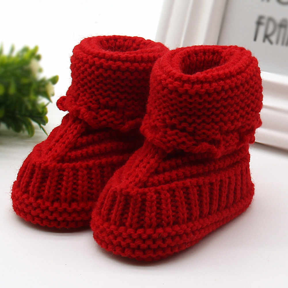 2019 Knitting Lace Crochet Shoes Newborn baby shoes bebe Soft Non-slip Toddler Newborn First Walker Warming Shoe zapatos bebe