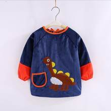 High quality baby bib long sleeve waterproof feeding baby bibs 2019 Autumn long sleeve cartoon boys baby clothing Crystal velvet(China)