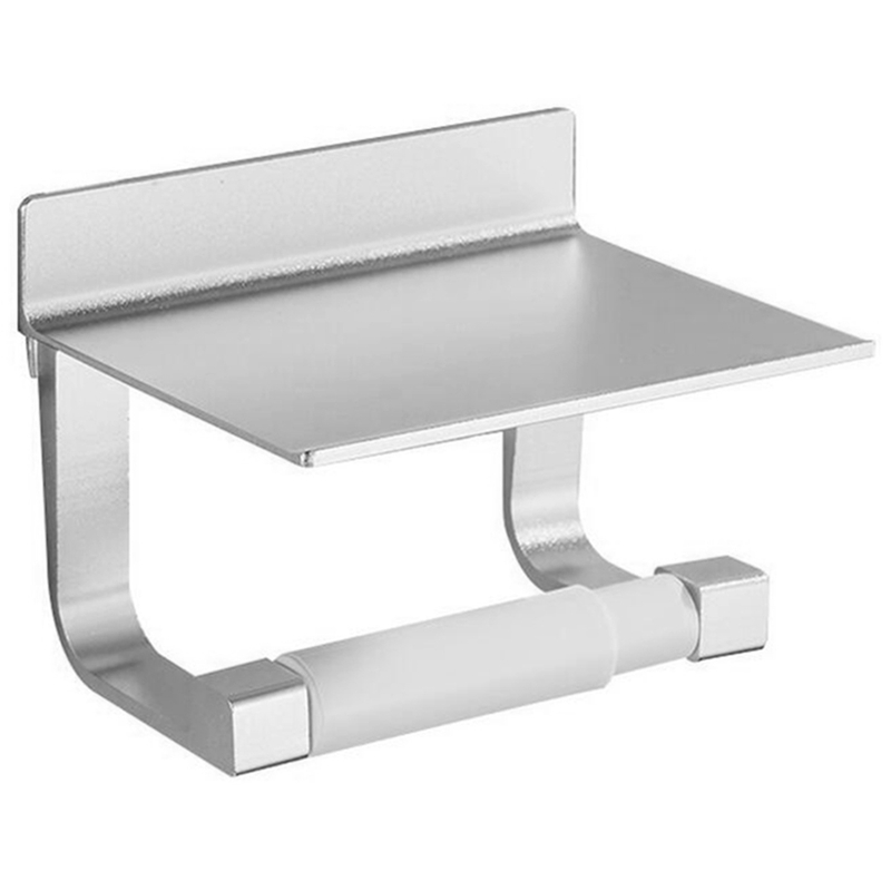 Toilet Paper Holders Space Aluminum Multi-Function Storage Hooks Bathroom Shelves With Ashtray Towel Shelf Phone Holder