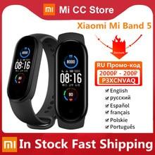 Xiaomi – Bracelet connecté Mi Band 5, moniteur de fréquence cardiaque, moniteur d'activité physique, écran AMOLED, Bluetooth, 6 couleurs, en Stock