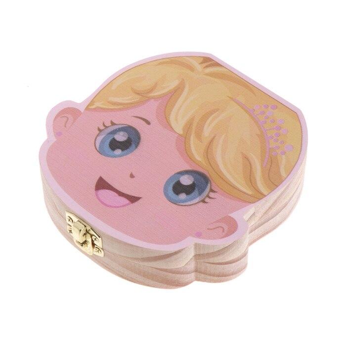 Детский ящик для зубов, органайзер для молочных зубов, деревянный ящик для хранения для мальчиков и девочек - Цвет: Girl