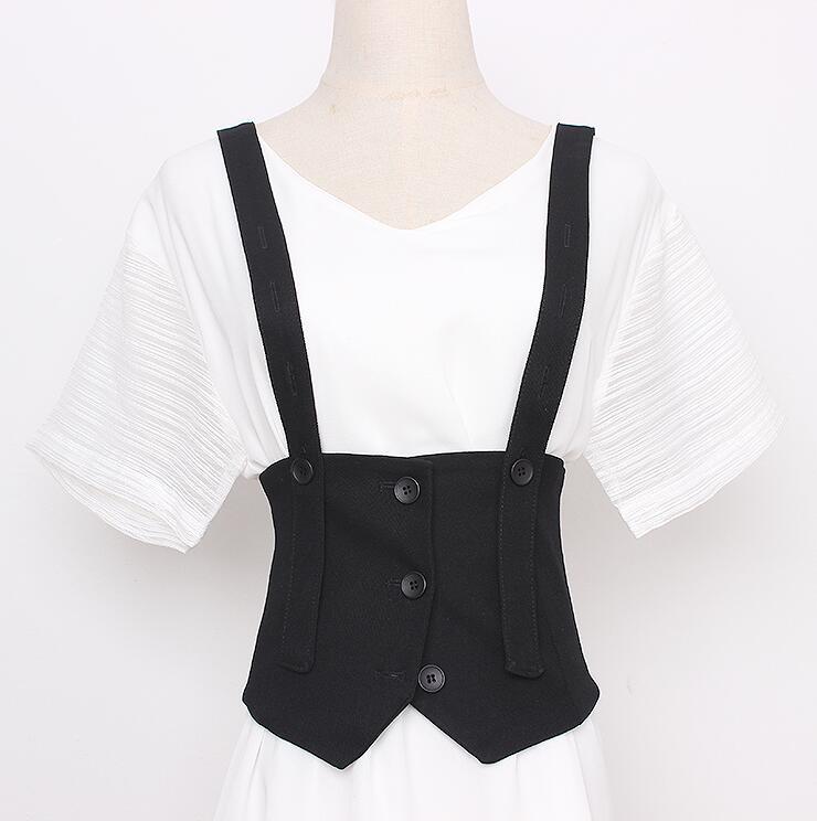 Women's Runway Fashion Black Fabric Cummerbunds Female Dress Corsets Waistband Belts Decoration Wide Belt R2922