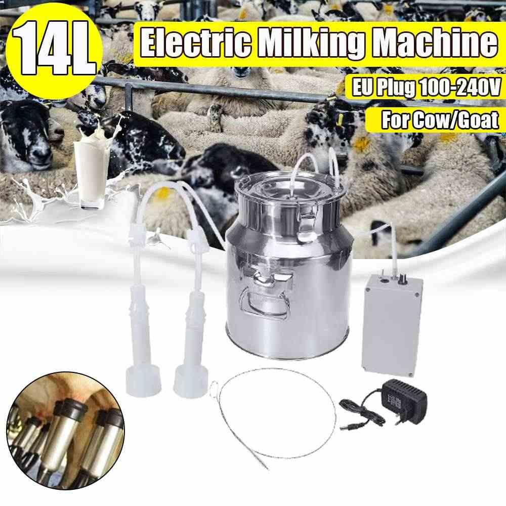 14L 60Kpa 電気搾乳機牛ヤギ羊搾乳ポータブルバレルタンクダブルヘッド搾乳ツール 110 V-240 V