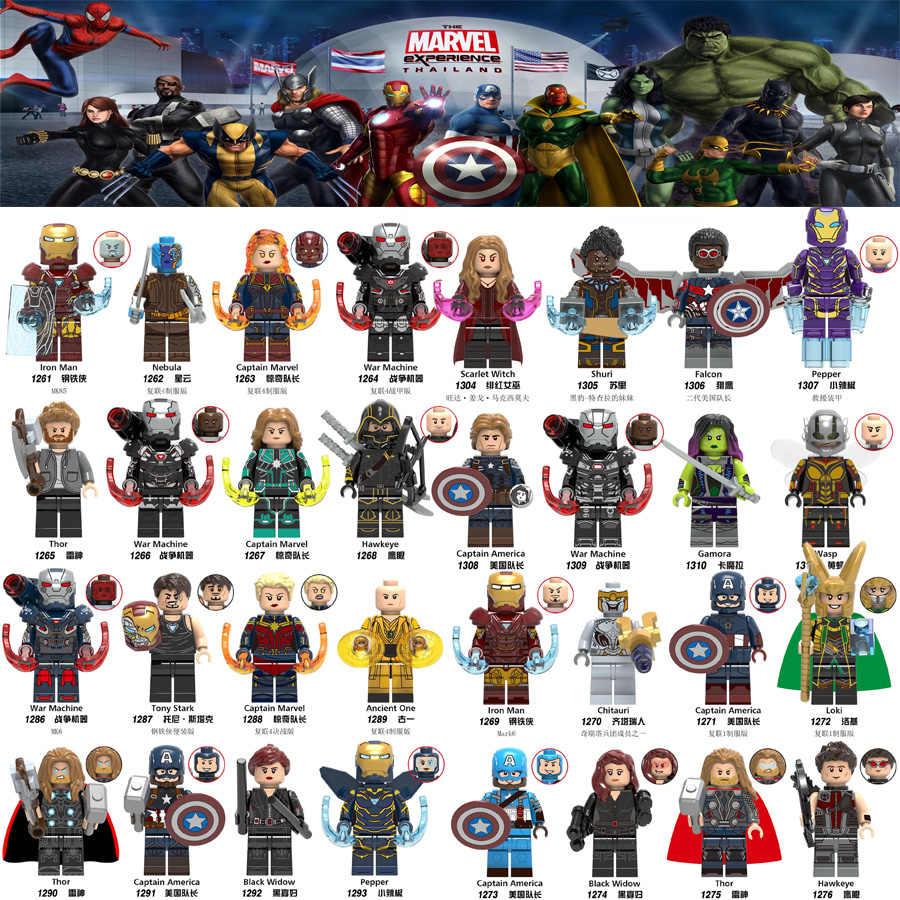 Endgame 4 Super Heróis Blocos de Construção Vingadores da marvel Homem de Ferro Máquina De Guerra Nebulosa Thor Figuras de Ação Para Crianças Brinquedos Modelo