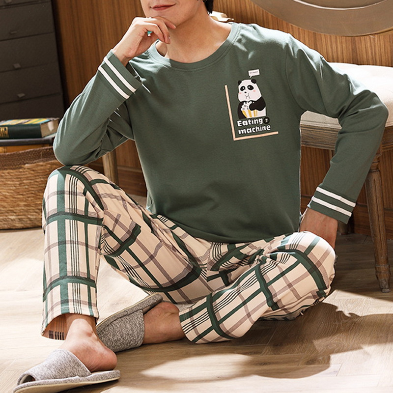 Cotton Long Sleeve Pajamas Set For Men Cute Green Cartoon Male Sleepwear Spring Warm Casual Home Clothes Lattice Pants Pijamas