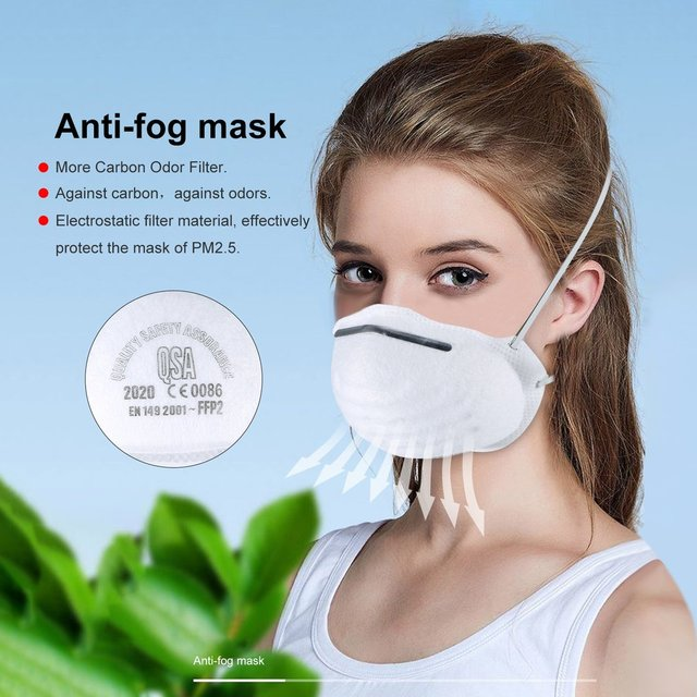 FFP2 Face Protective Mask Proof Mouth Fog Cotton Anti Dust Activated Carbon Filter Windproof PM2.5 Black 3-layer Bacteria Flu  4