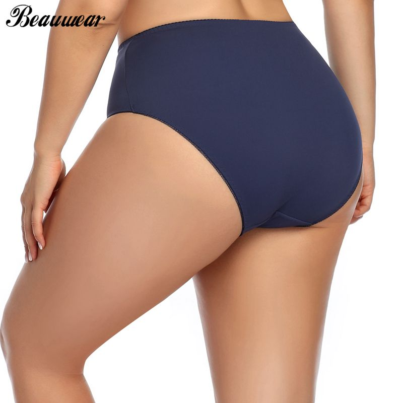 Beauwear High Waist Panties For Women Underwear Ladies Big Size Briefs Traceless Plus Size Thin Satin Sexy Panties Female