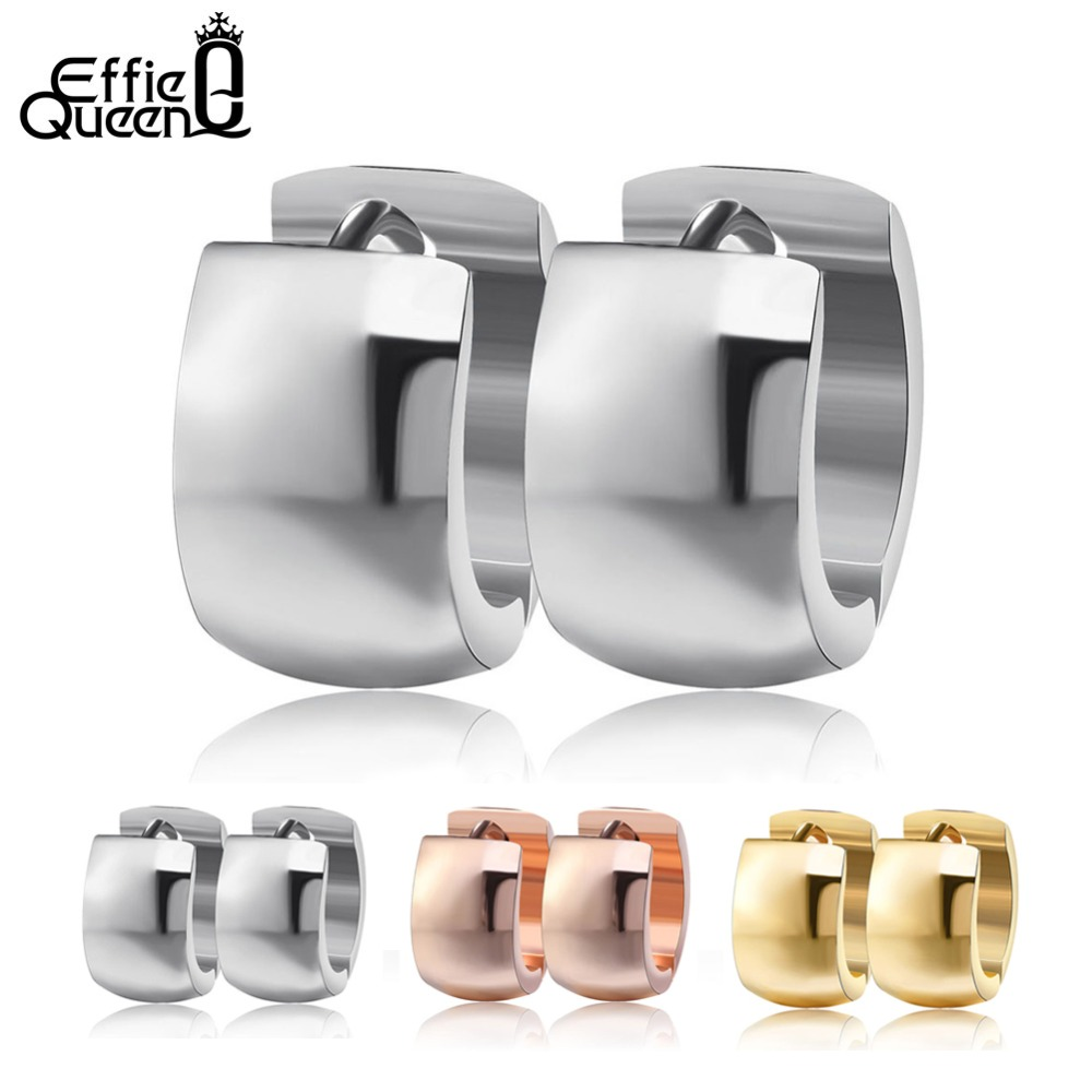 Effie Queen 316L Stainless Steel Ear Stud Earrings Fashion Women Men's 7mm Wide Punk Style Small Earrings Jewelry Wholesale IE18