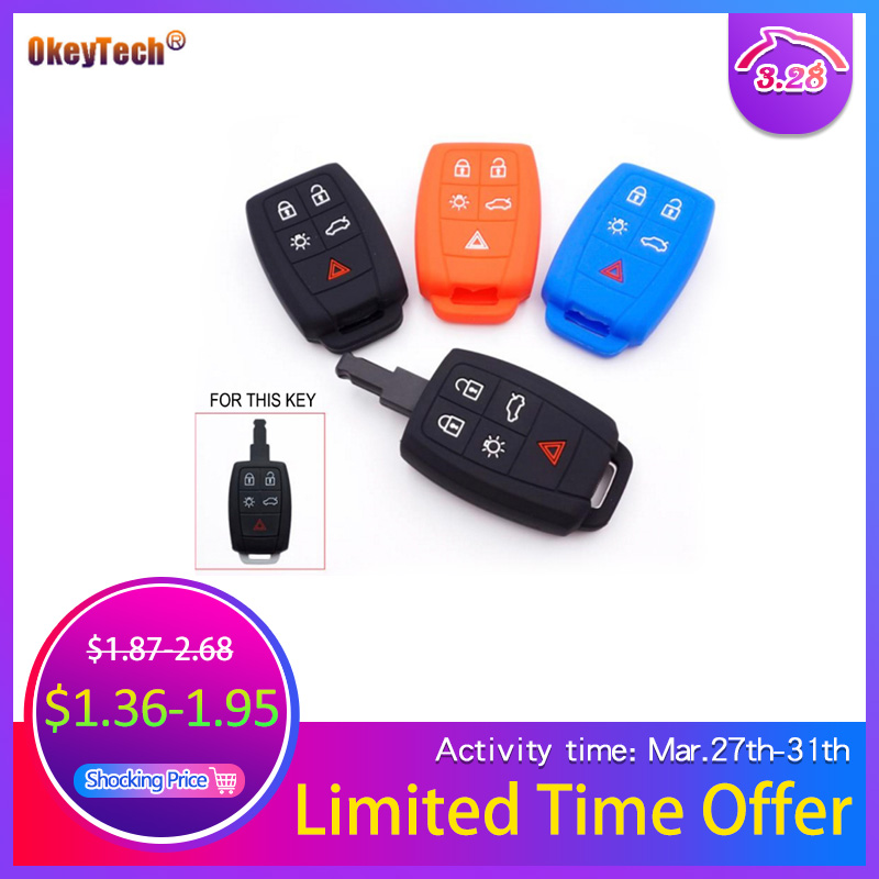 OkeyTech 5 Buttons Silicone Car Key Protector Case Cover For Volvo XC90 C70 S60 D5 V50 S40 C30 Auto Key Fob Holder High Quality