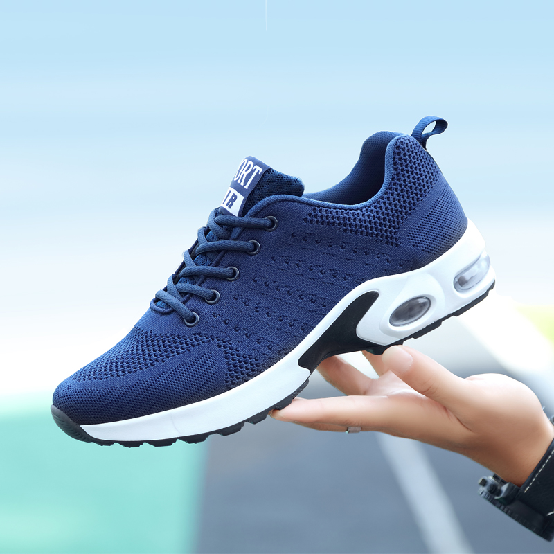 Air Cushion Sneakers For Men Fly-knit Mesh Shoes Male Lightweight Couples Breathable Wear-resistant Shock-absorbing Footwear Man