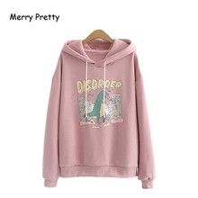 Women's Cartoon Dinosaur Print Funny Hooded Sweatshirts Femme Drawstring Hoodies Pullovers 2020 New Loose Tracksuit MERRY PRETTY(China)