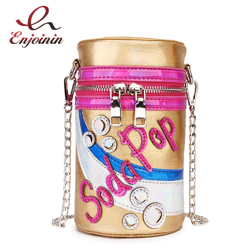 Fun Soda Bottle Pu Leather Fashion Girl's Shoulder Bag Women Tote Bag Crossbody Bag Purses And Handbags Chain Bag Pouch