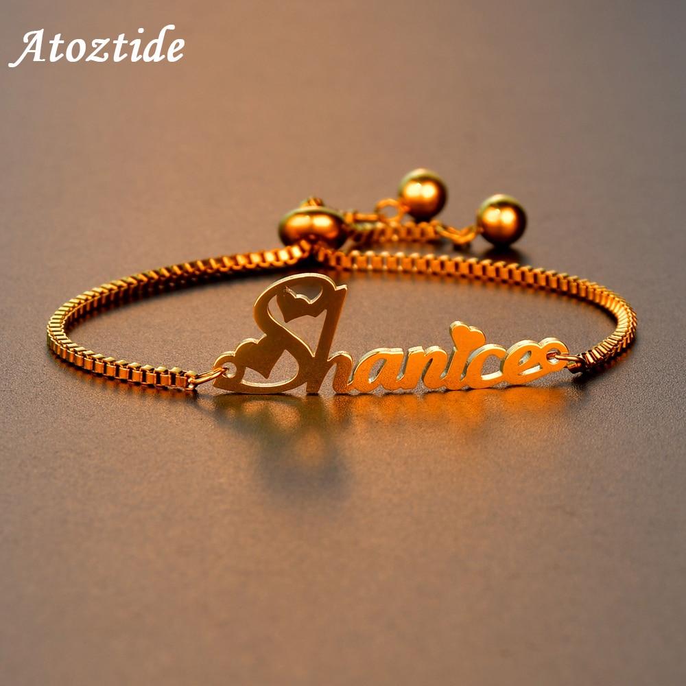 Atoztide Mode, Personalisierte Name Armband für Frauen Edelstahl brief Bracele mit Verstellbaren Kette Hochzeit Geschenk