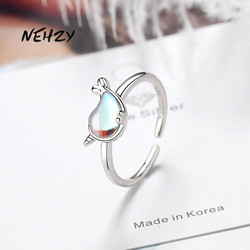 NEHZY 925 Sterling Silver New Woman Fashion Jewelry High Quality Color Crystal Dolphin Little Whale Ring Size Adjustable Ring