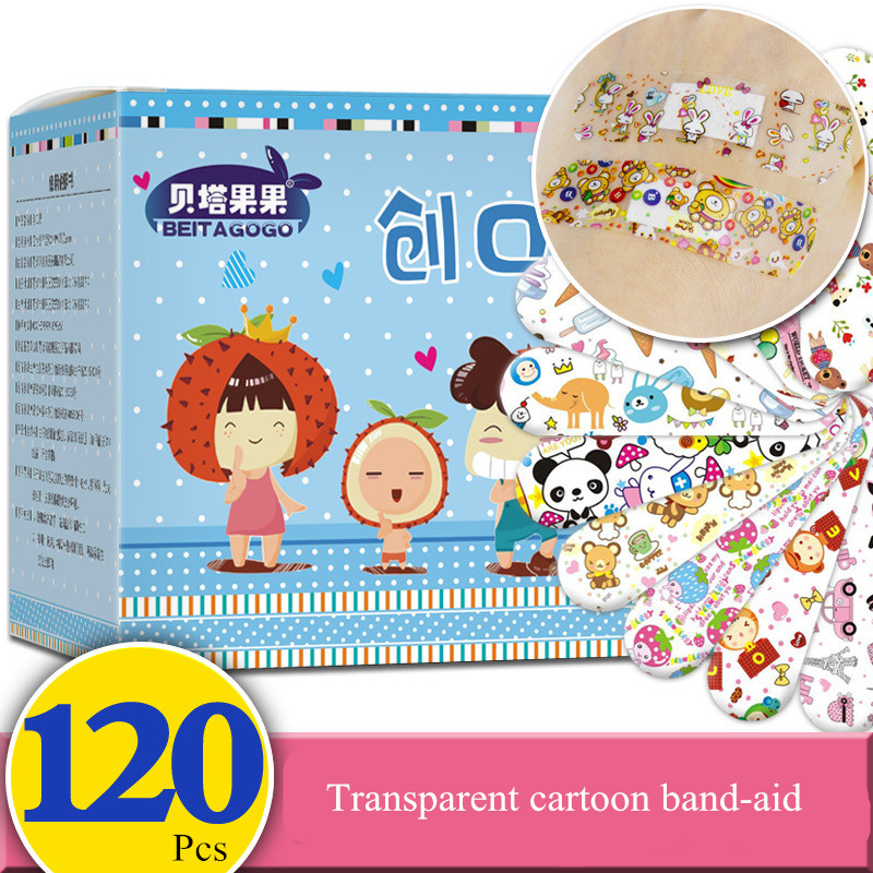 120PC Hemostatic Adhesive Bandages Breathable Cute Cartoon Band Aid Waterproof First Aid Emergency Kit For Kids Adhesive Bandage