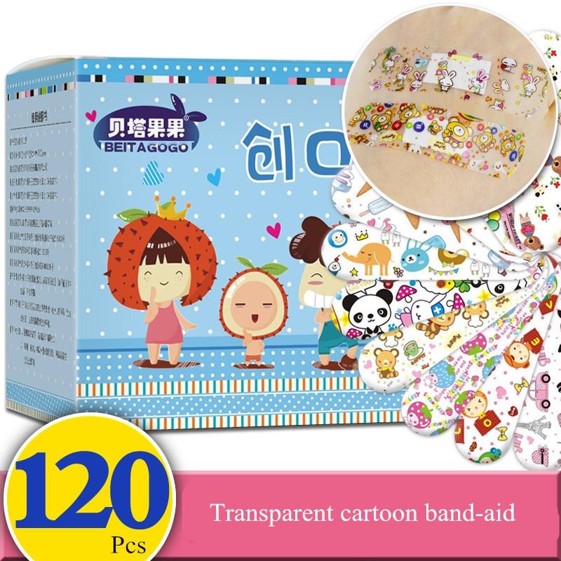120PC Hemostatic Adhesive Bandages Breathable Cute Cartoon Band Aid Waterproof First Aid Emergency Kit For Kids Adhesive Bandage