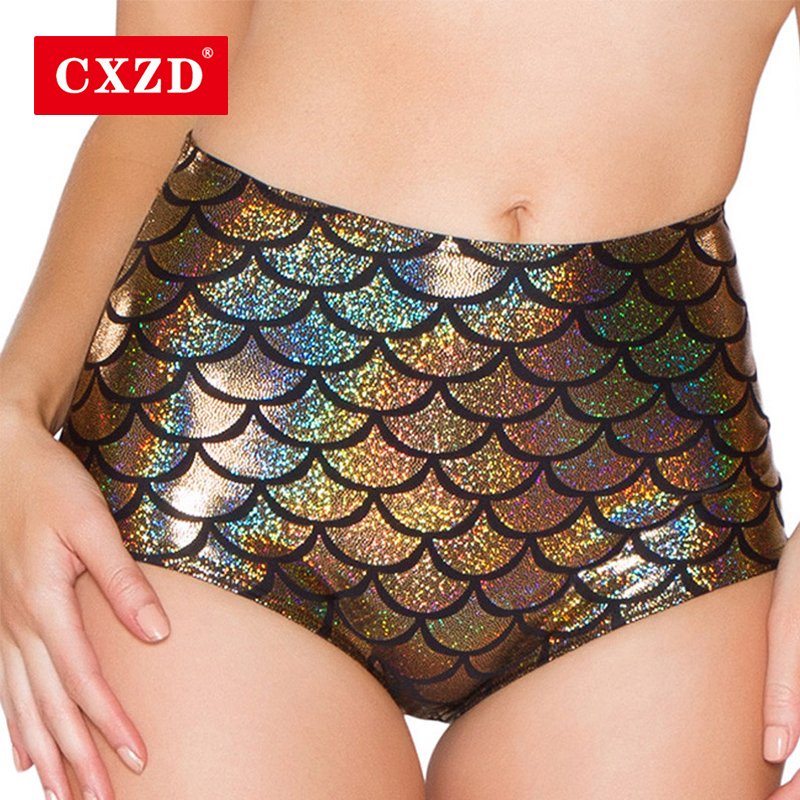 CXZD High Waist Candy Color Patent Leather Sexy Pole Dance Booty Shorts Clubwear Fish Scale Perlage Mini Short