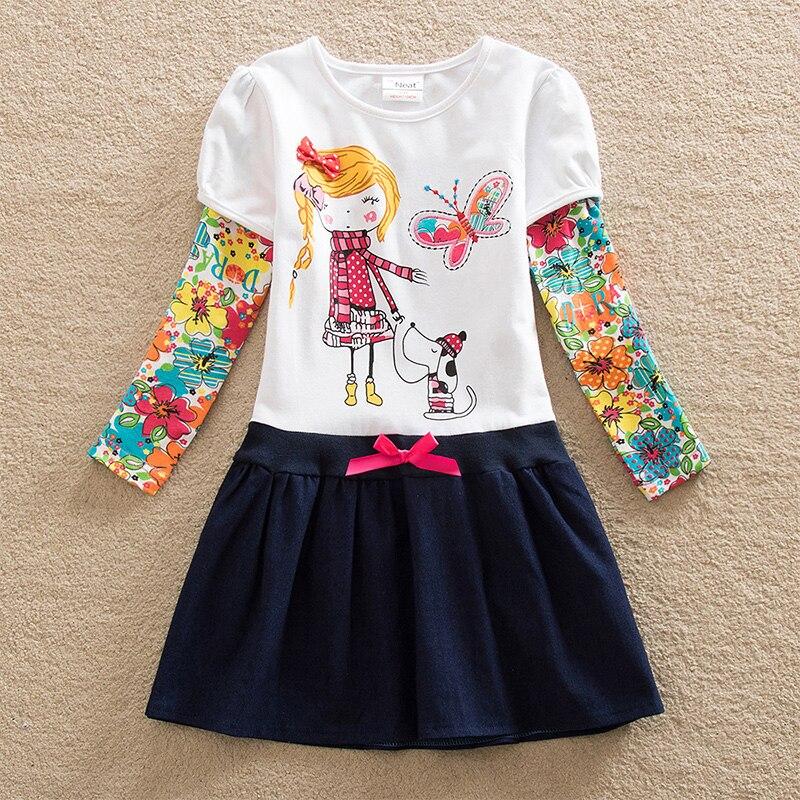 Hf0229353737d4be6be6fc9c4c40a7691X VIKITA Girls Cotton Dress Long Sleeve Children Patchwork Vestidos Kid Dresses for Girls Clothes Toddlers Cartoon Princess Dress