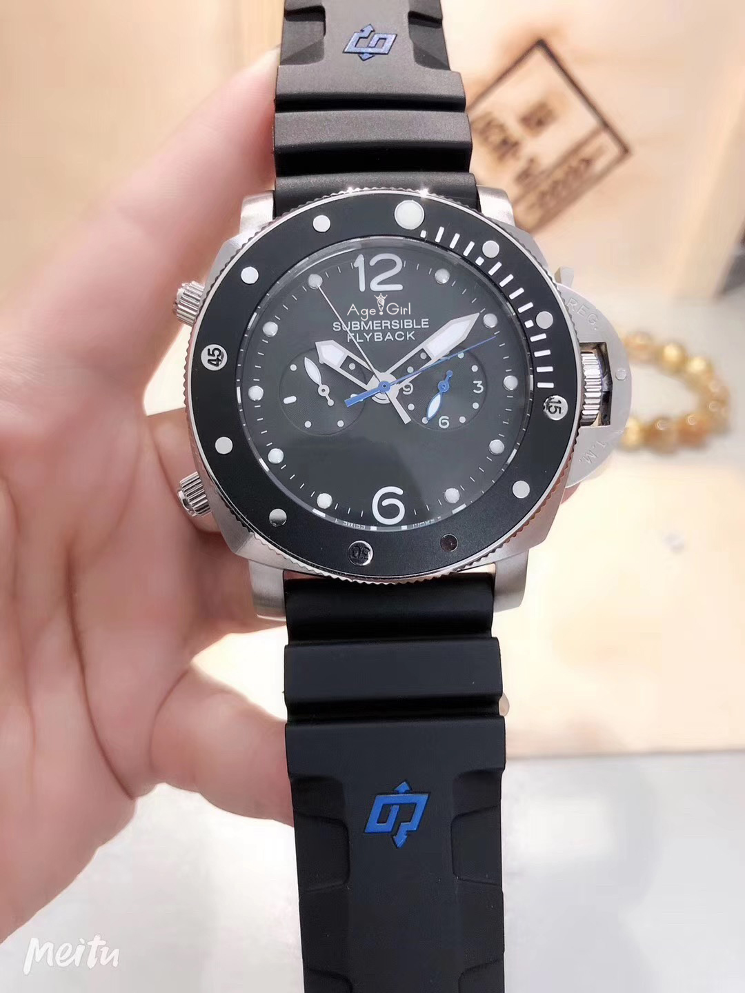 Luxury Brand New Men Automatic Mechanical Sapphire Flyback Silver Stainless Steel Black Rubber Watch Luminous Ceramic Bezel AAA+