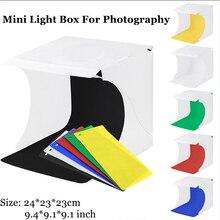 Miniพับกล่องไฟถ่ายภาพสตูดิโอกล่องDual LED Stripไฟ20ซม.ยิงเต็นท์สำหรับสินค้าขนาดเล็ก