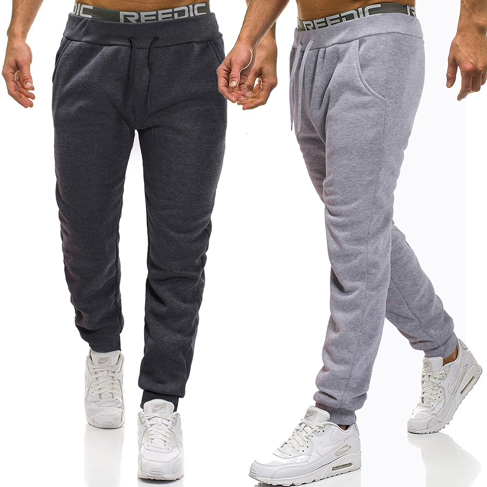Men Joggers 2019 Brand Fleece Trousers Casual Sweatpants Jogger Grey Casual Elastic Waist Solid Color Cotton Gym Fitness Workout