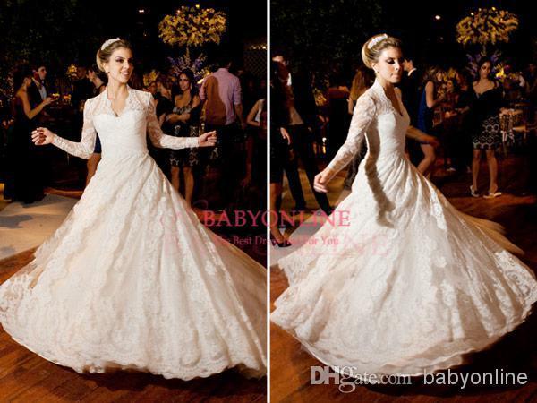 Bridal Gowns Casamento Vestido De Noiva 2016 New Romantic V-neck Long Sleeve Lace Appliques Vintage Wedding Dress Free Shipping