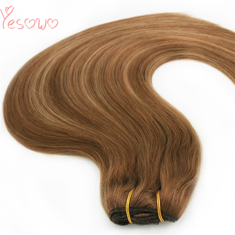 Yesowo Fashion Light Brown Highlight Brazilian Remy Hair Bundles 100g Straight Virgin Wefts Cheap Human Hair Weave