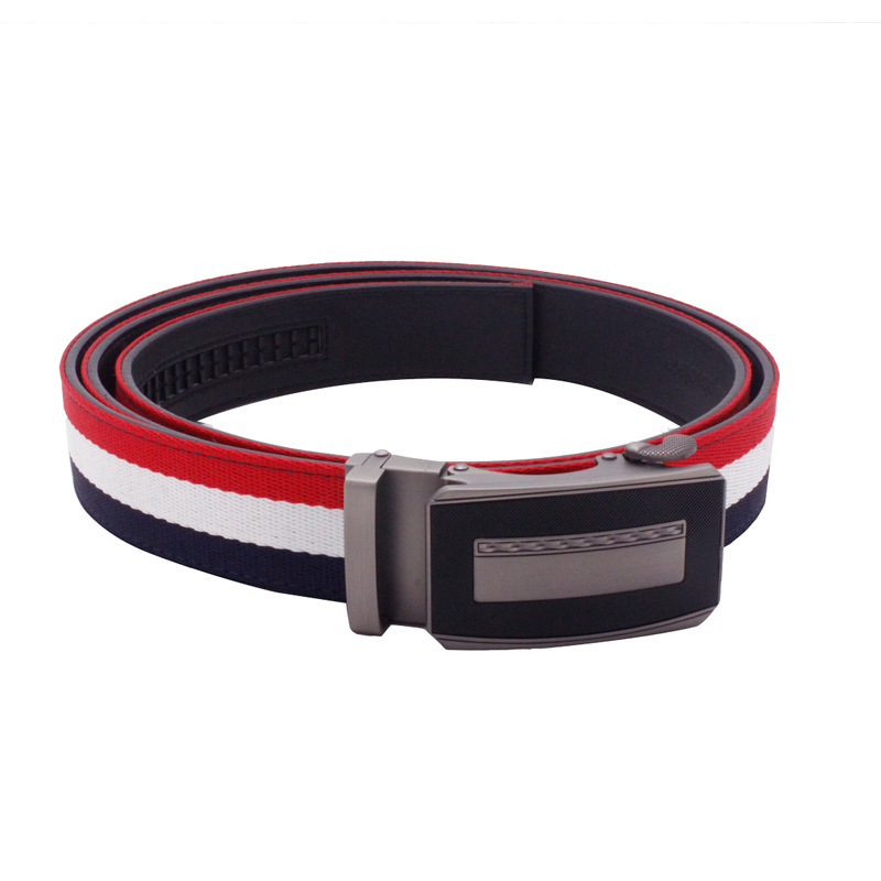 Men's Comfort Click Big Size Casual Striped Cloth Fabric Canvas Auotomatic Leather Ratchet Belt Strap Red White Blue Mixed Color