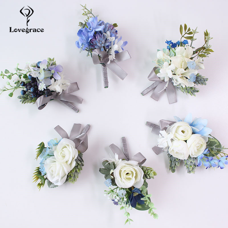 Silk Roses Women Brooch Groom Boutonniere Artificial Flower Corsage Bracelet Wedding Corsage Pin Men Prom Wedding Corsage Flower