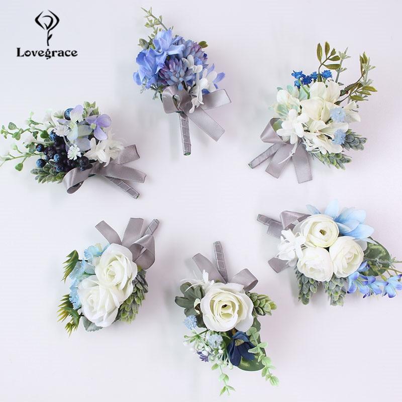 Silk Roses Women Brooch Groom Boutonniere Artificial Flower Corsage Bracelet Wedding Corsage Pin Men Prom Wedding Corsage Flower
