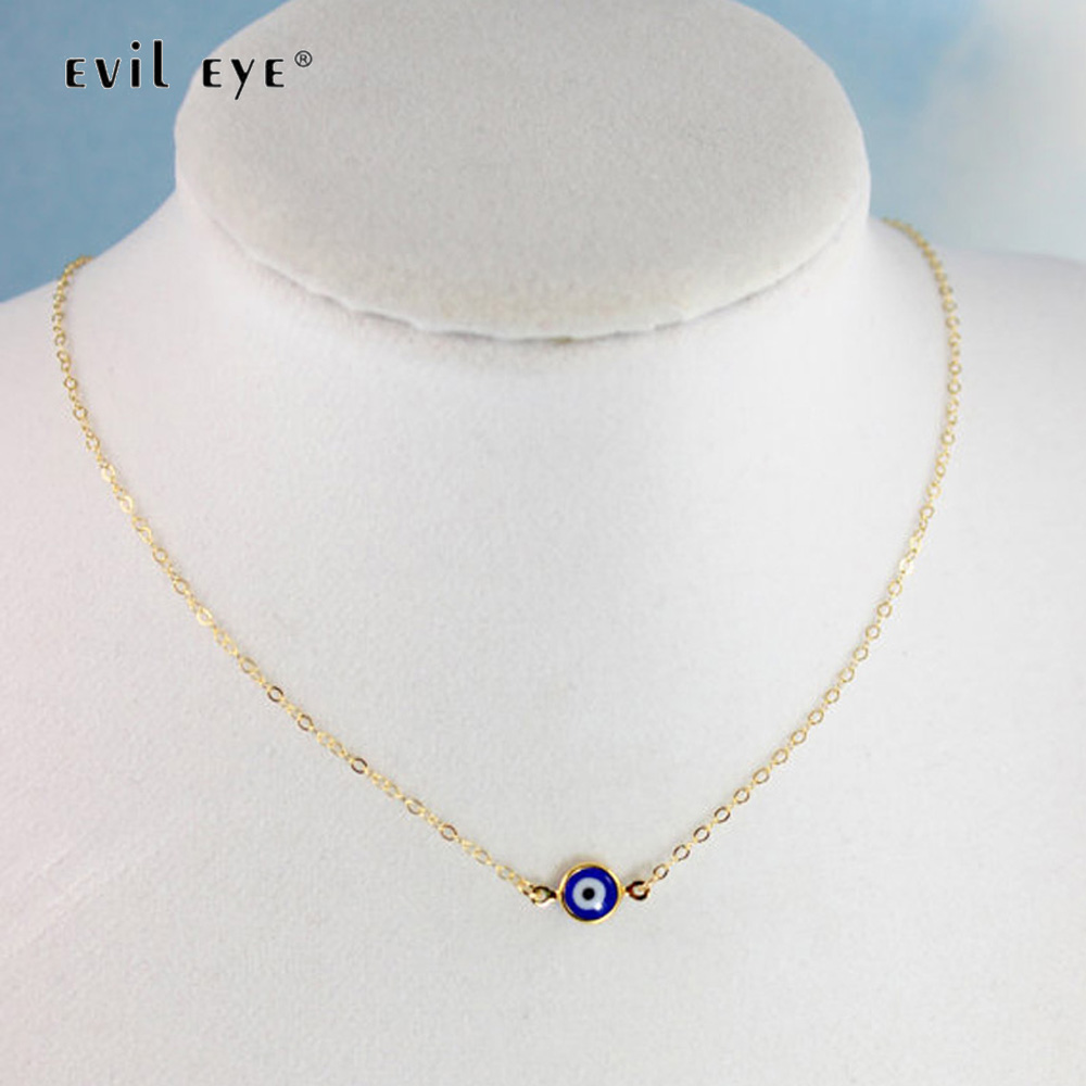 Blue Evil Eye  Metal Beads Gold Chain Pendant Necklace Fashion Jewelry s//