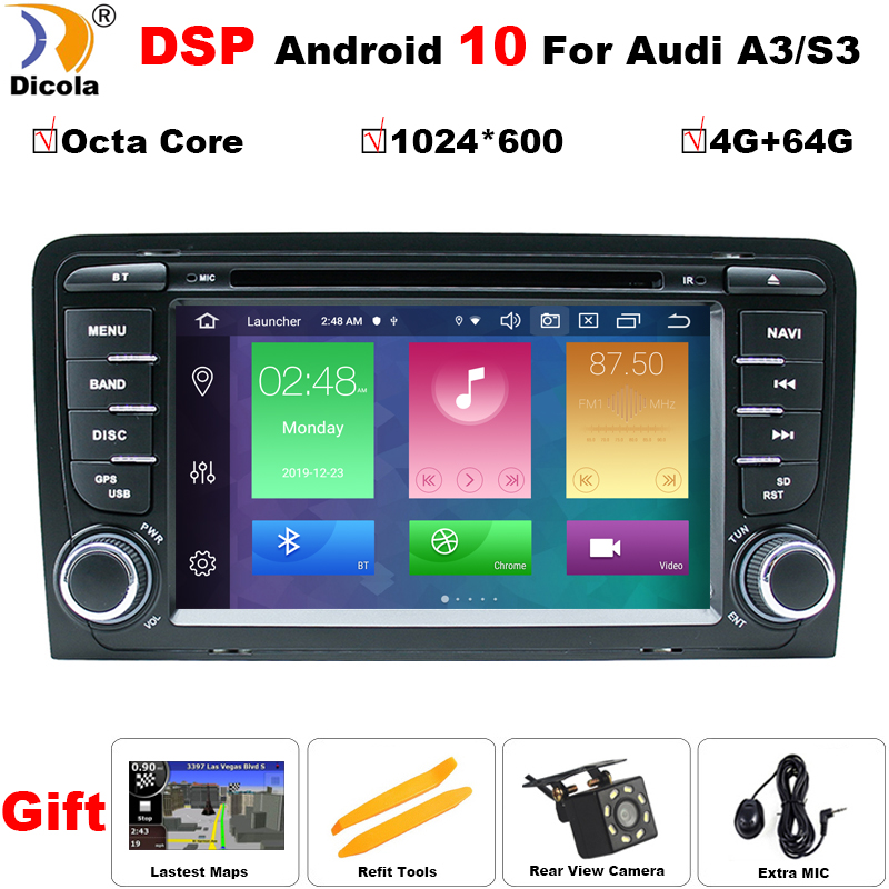 Octa Core IPS DSP Android 10 Auto DVD Multimedia Für <font><b>Audi</b></font> <font><b>A3</b></font> <font><b>8P</b></font> S3 RS3 Sportback <font><b>Navigation</b></font> GPS Radio stereo kopf einheit 4GB + 64GB image