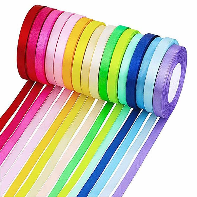 (Khoảng Cách 25 Mét/Cuộn) 1 Cm Nhiều Màu Sắc Ruy Băng Sỉ Tặng Đóng Gói Trang Trí Giáng Sinh Diy Ruy Băng Cuộn Vải Cầu Vồng 40 Màu
