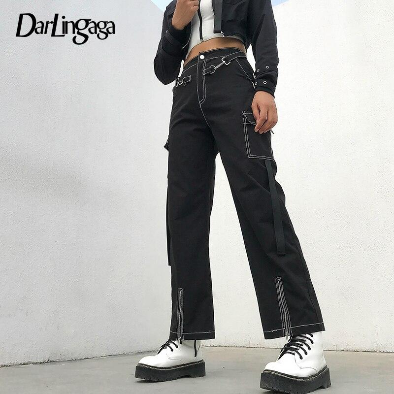Darlingaga Street Style Cargo Line   Wide     Leg     Pants   Patchwork Pockets Fashion High Waist   Pants   Baggy Trousers Steampunk Bottom New