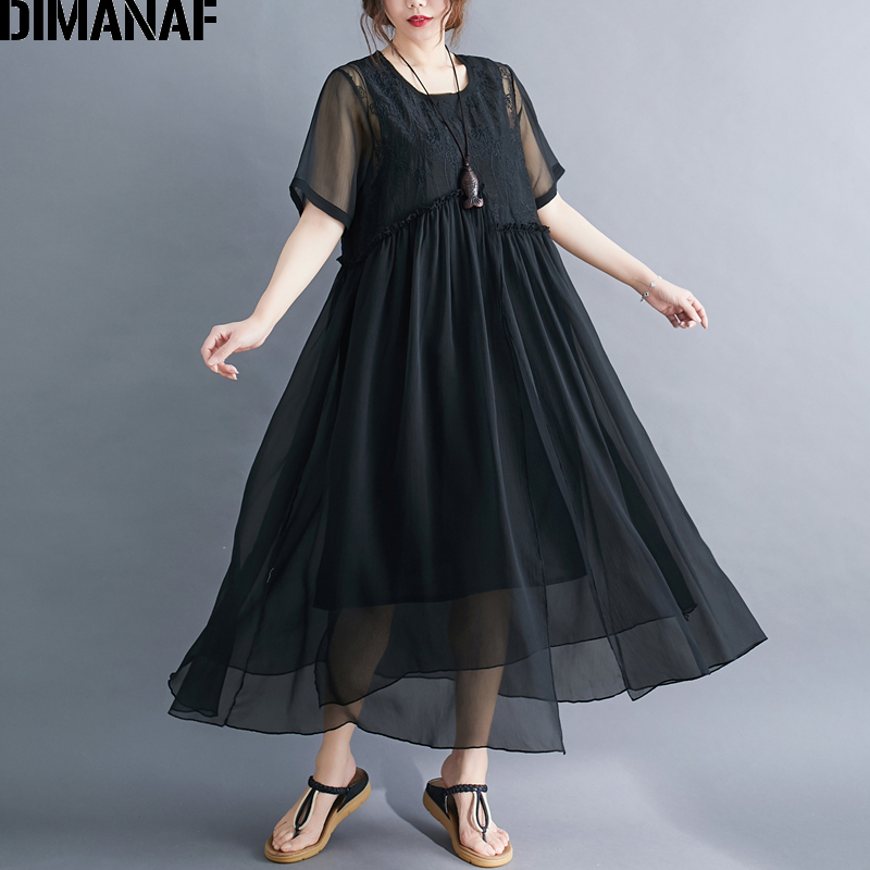 DIMANAF Plus Size Women Dress Summer Sundress Elegant Lady Vestidos Embroidery Floral Silk Female Clothing Loose Maxi Dress 2020