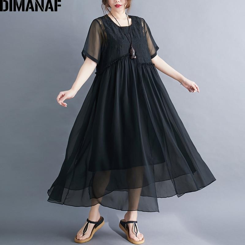 DIMANAF Plus Size Women Dress Summer Sundress Elegant Lady Vestidos Embroidery Floral Silk Female Clothing Loose Maxi Dress 2020