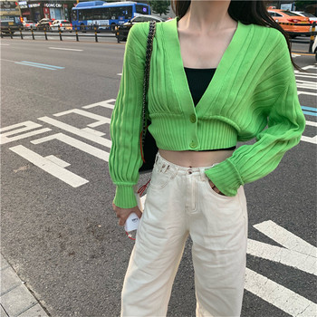 цена на 2020 Knitwear crop top women Sweater cardigan v-neck solid green/grey long sleeve button slim casual sexy fashion top Coats
