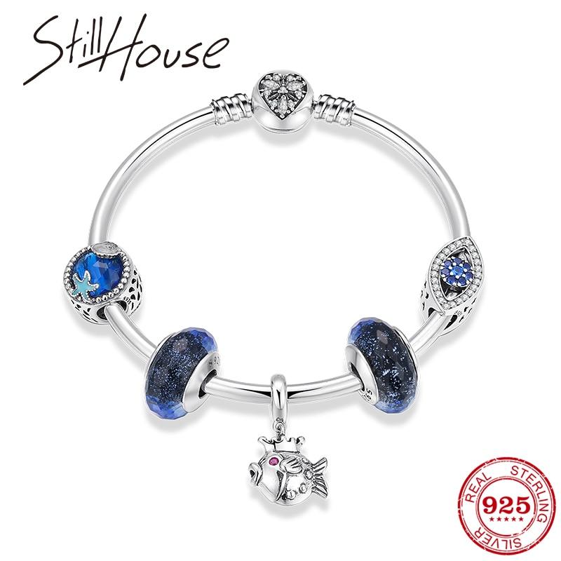 Perle de Murano bleu mode 925 Bracelets en argent Sterling Bracelets pour femmes embrassant poisson pendentifs bracelet à breloques bijoux de mode