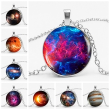 2019 Explosion Model Galaxy Explosion Charm Necklace Silvery Space Glass Cabochon Pendant Solar Jewelry Space Universe