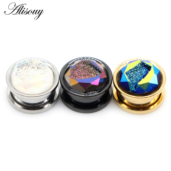 Alisouy 2pcs Stainless Steel Inlay Crystal Bud Ear Tunnels Plugs Flesh Screw Expanders Stretched Earrings Body Piercing Jewelry 2